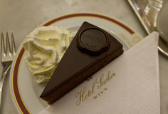 Αρχικό Sacher Torte που εξυπηρετείται με την κτυπημένη κρέμα Στοκ φωτογραφίες με δικαίωμα ελεύθερης χρήσης