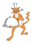 Αρχιμάγειρας γατών με το γεύμα Στοκ Εικόνα