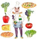 Αρχιμάγειρας γενικός με την καθορισμένη απεικόνιση watercolor τροφίμων Στοκ Εικόνες