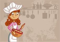 Αρχιμάγειρας γυναικών κινούμενων σχεδίων Στοκ Εικόνα