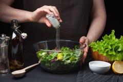 Αρχιμάγειρας γυναικών στην κουζίνα που προετοιμάζει τη φυτική σαλάτα κατανάλωση υγιής σιτηρέσιο έννοιας Ένας υγιής τρόπος της ζωή Στοκ Εικόνες