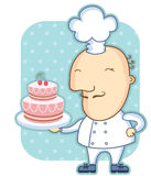 Αρχιμάγειρας και γλυκό κέικ. Διανυσματική απεικόνιση του αρτοποιού Στοκ Εικόνες