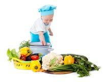 Αρχιμάγειρας και λαχανικά μωρών Στοκ Εικόνες