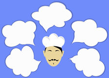 Αρχιμάγειρας και σύννεφα για το κείμενο ή τα εικονίδια Στοκ Φωτογραφίες
