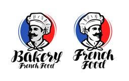 Αρχιμάγειρας, λογότυπο μαγείρων Γαλλικά τρόφιμα, σύμβολο αρτοποιείων ή ετικέτα Διανυσματικό τυπογραφικό σχέδιο απεικόνισης απεικόνιση αποθεμάτων