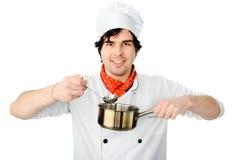 Αρχιμάγειρας με ένα τηγάνι στοκ φωτογραφία