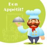 Αρχιμάγειρας με την αφίσα δίσκων Στοκ Εικόνα