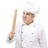 0 αρχιμάγειρας με την κυλώντας καρφίτσα που απομονώνεται στο άσπρο υπόβαθρο Στοκ φωτογραφία με δικαίωμα ελεύθερης χρήσης