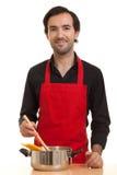 Αρχιμάγειρας με το δοχείο ζυμαρικών Στοκ Φωτογραφίες
