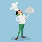Αρχιμάγειρας με το πιάτο επίσης corel σύρετε το διάνυσμα απεικόνισης Στοκ εικόνα με δικαίωμα ελεύθερης χρήσης