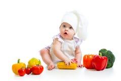 Αρχιμάγειρας μωρών με τα υγιή τρόφιμα Στοκ Φωτογραφία