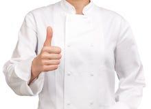 Αρχιμάγειρας που καθιστά το σημάδι χεριών ΕΝΤΑΞΕΙ Στοκ φωτογραφίες με δικαίωμα ελεύθερης χρήσης