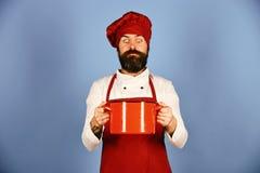 Αρχιμάγειρας που κρατά ένα δοχείο και που εξετάζει το με την έκπληξη στοκ εικόνες