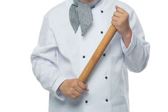 αρχιμάγειρας που κρατά μια κυλώντας καρφίτσα Στοκ εικόνα με δικαίωμα ελεύθερης χρήσης