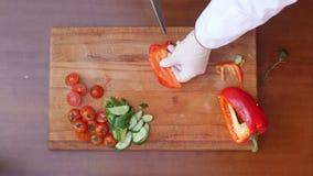 Αρχιμάγειρας που κόβει το κόκκινο πιπέρι κουδουνιών φιλμ μικρού μήκους
