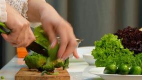 Αρχιμάγειρας που κόβει το φρέσκο μπρόκολο στη χάραξη του πίνακα απόθεμα βίντεο