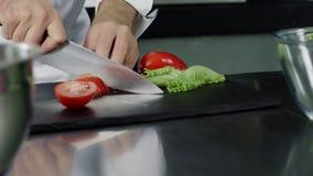 Αρχιμάγειρας που μαγειρεύει τη φρέσκια σαλάτα στην κουζίνα Χέρια αρχιμαγείρων κινηματογραφήσεων σε πρώτο πλάνο που κόβουν την ντο απόθεμα βίντεο