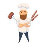 Αρχιμάγειρας που μαγειρεύει BBQ διανυσματική απεικόνιση