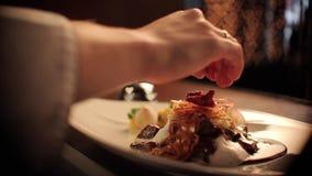 Αρχιμάγειρας που παίρνει ένα πιάτο κρέατος έτοιμο απόθεμα βίντεο