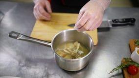 Αρχιμάγειρας που προσθέτει τα συστατικά στη σούπα απόθεμα βίντεο