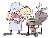 αρχιμάγειρας που ψήνει τα χάμπουργκερ στη σχάρα απεικόνιση αποθεμάτων