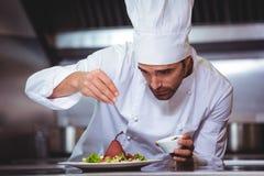 Αρχιμάγειρας που ψεκάζει τα καρυκεύματα στο πιάτο Στοκ φωτογραφίες με δικαίωμα ελεύθερης χρήσης
