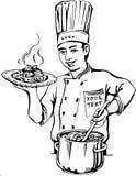 Αρχιμάγειρας στα ομοιόμορφα ζυμαρικά μαγείρων Στοκ εικόνα με δικαίωμα ελεύθερης χρήσης