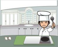 Αρχιμάγειρας στην κουζίνα Στοκ Εικόνα