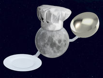 Αρχιμάγειρας φεγγαριών με το πιάτο Στοκ φωτογραφία με δικαίωμα ελεύθερης χρήσης