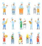 Αρχιμάγειρες μαγείρων που μαγειρεύουν το γεύμα στο καθορισμένο διάνυσμα κουζινών ελεύθερη απεικόνιση δικαιώματος