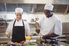 Αρχιμάγειρες που προετοιμάζουν τα τρόφιμα στην εμπορική κουζίνα στοκ εικόνες