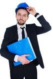 Αρχιτέκτονας ή δομικός μηχανικός που φορά hardhat Στοκ Εικόνες