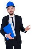 Αρχιτέκτονας ή δομικός μηχανικός που φορά hardhat Στοκ Εικόνα