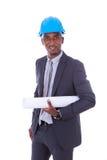 Αρχιτέκτονας αφροαμερικάνων που απομονώνεται στο άσπρο υπόβαθρο - ο Μαύρος Στοκ φωτογραφία με δικαίωμα ελεύθερης χρήσης