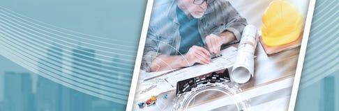 Αρχιτέκτονας που εργάζεται στα σχέδια, ελαφριά επίδραση έμβλημα πανοραμικό στοκ εικόνες με δικαίωμα ελεύθερης χρήσης