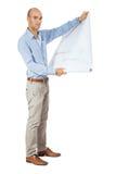 Αρχιτέκτονας που διαβάζει ένα σχεδιάγραμμα Στοκ εικόνες με δικαίωμα ελεύθερης χρήσης