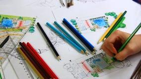 Αρχιτέκτονας στην εργασία απόθεμα βίντεο