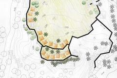 Αρχιτέκτονας τοπίου που σχεδιάζει στο σχέδιο ανάλυσης περιοχών διανυσματική απεικόνιση