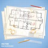 Αρχιτεκτονικά έγγραφα με τα σκίτσα και τα μολύβια Στοκ εικόνα με δικαίωμα ελεύθερης χρήσης