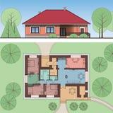 Αρχιτεκτονικά πρόσοψη και σχέδιο ενός σπιτιού στο έδαφος Απόψεις του single-storey εξοχικού σπιτιού Τοπ άποψη με τα έπιπλα Διάνυσ διανυσματική απεικόνιση