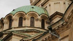 Αρχιτεκτονικά στοιχεία της εκκλησίας του Αλεξάνδρου Nevsky στη Sofia, τουριστική έλξη απόθεμα βίντεο