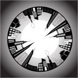 αρχιτεκτονική βιομηχανι& Γραπτή πόλη διανυσματική απεικόνιση