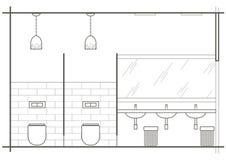 Αρχιτεκτονική γραμμική εσωτερική μπροστινή άποψη WC σκίτσων στοκ εικόνες