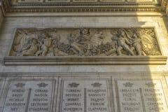Αρχιτεκτονική λεπτομέρεια Arc de Triomphe Στοκ φωτογραφία με δικαίωμα ελεύθερης χρήσης