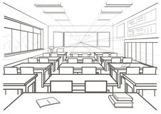 Αρχιτεκτονική εσωτερική σχολική τάξη σκίτσων Στοκ εικόνα με δικαίωμα ελεύθερης χρήσης