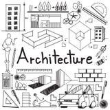 Αρχιτεκτονική και σχέδιο αρχιτεκτόνων που χτίζει το εξωτερικό εικονίδιο doodle Στοκ Φωτογραφία