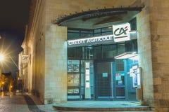 Αρχιτεκτονική λεπτομέρεια ενός υποκαταστήματος τράπεζας της Credit Agricole στοκ εικόνες