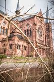 Αρχιτεκτονική λεπτομέρεια της εκκλησίας Johanneskirche στο freiburg Im Breisgau, Γερμανία στοκ εικόνες