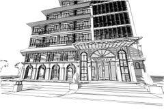 Αρχιτεκτονική που σύρει την τρισδιάστατη απεικόνιση Στοκ εικόνες με δικαίωμα ελεύθερης χρήσης
