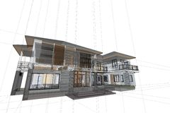 Αρχιτεκτονική που σύρει τη σύγχρονη τρισδιάστατη απεικόνιση σπιτιών Στοκ φωτογραφία με δικαίωμα ελεύθερης χρήσης